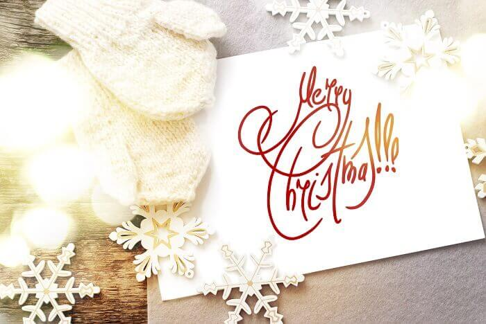 Christmas Card with Message Happy New Year isolated on white, de