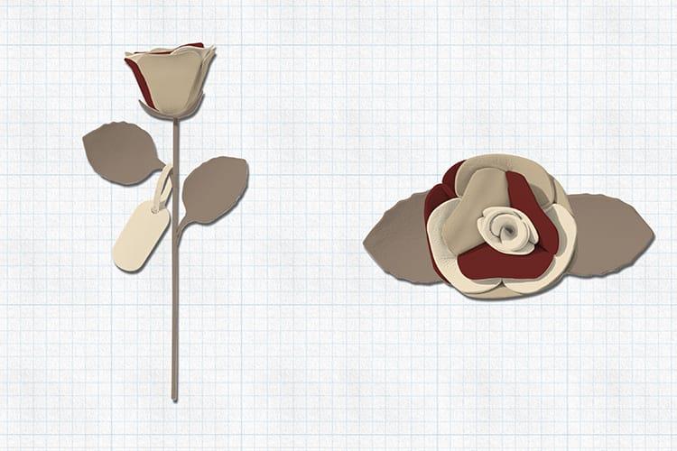 両親に贈りたい革の一輪花デザイン。ふたりが好きなダークレッドとアイボリーホワイトに、グレージュとナチュラルベージュでまとまりを持たせた。