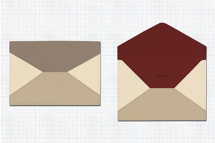 両親に贈りたい革の封筒デザイン。ふたりが好きなダークレッドとアイボリーホワイトに、グレージュとナチュラルベージュでまとまりを持たせた。