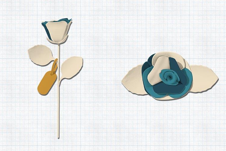 彼女に贈りたい革の一輪花デザイン。白を基調にターコイズブルー・ピーコックブルーとマスタードイエローが差し色。