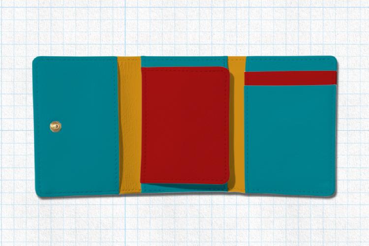 開いた状態の3つ折りミニ財布