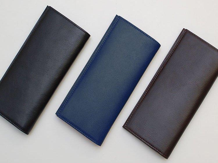 ピュアブラック、ミッドナイトネイビー、エスプレッソブラウンのスリム長財布の画像