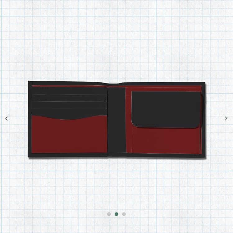 2つ折り財布(小銭入れつき)ブラックとダークレッドベース