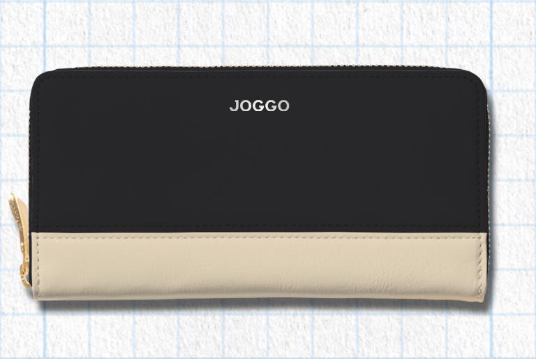 ピュアブラック、アイボリーホワイト、ピーコックブルー、ロゴ:シルバーを使用したラウンドを使用したシンプルラウンド長財布(バイカラー)のデザイン例