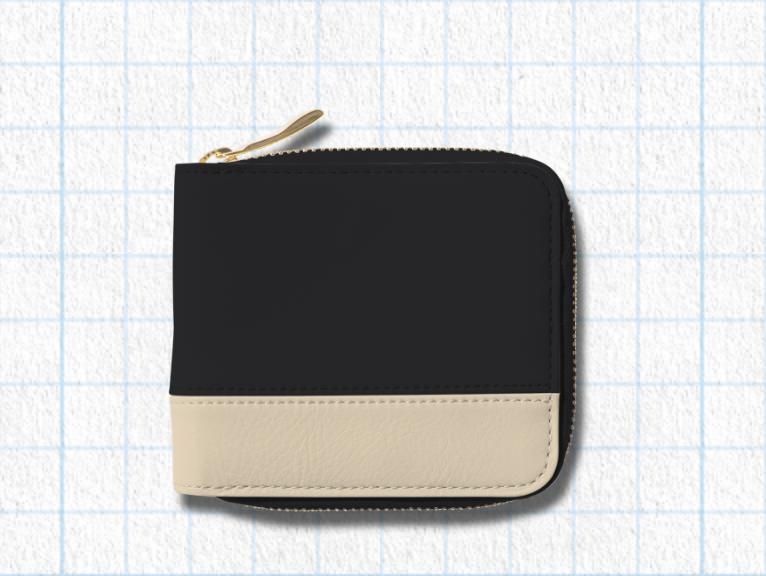 ピュアブラック、アイボリーホワイト、ピーコックブルー、ロゴ:シルバーを使用したラウンド2つ折り財布(バイカラー)のデザイン例