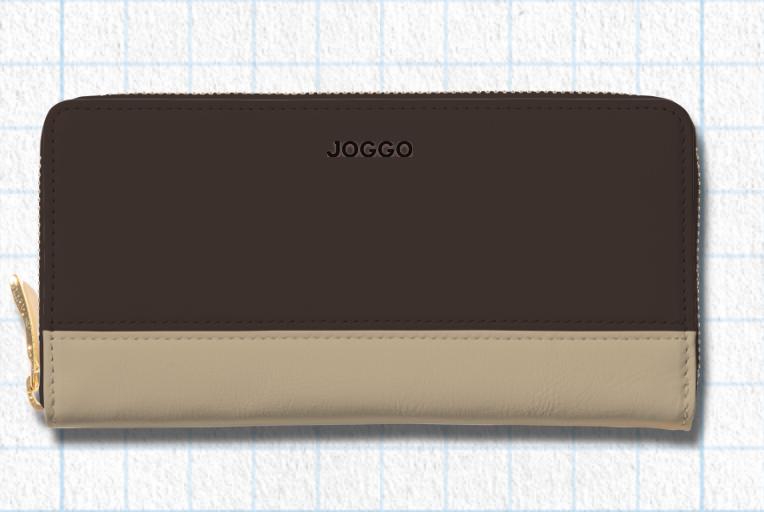 エスプレッソブラウン、ナチュラルベージュ、フォレストグリーンを使用したシンプルラウンド長財布(バイカラー)