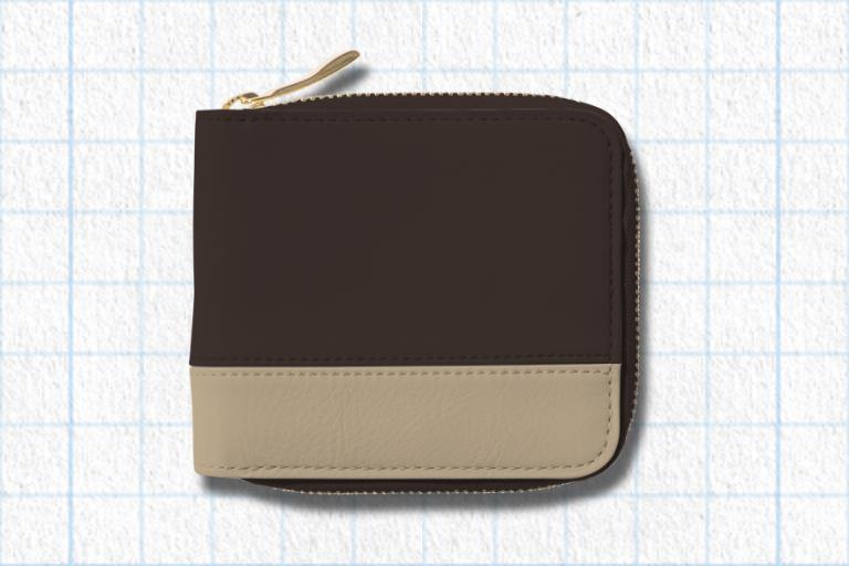 エスプレッソブラウン、ナチュラルベージュ、フォレストグリーンを使用したラウンド2つ折り財布(バイカラー)