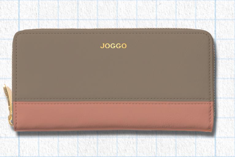 グレージュ、フラミンゴピンク、アイボリーホワイトを使用したシンプルラウンド長財布(バイカラー)