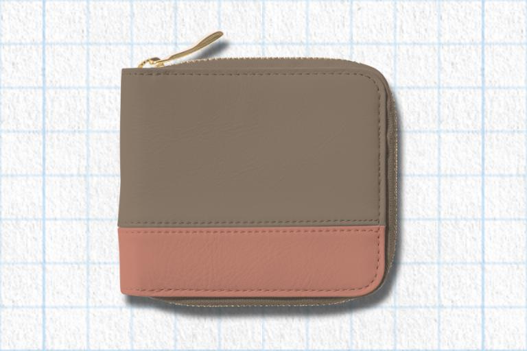 グレージュ、フラミンゴピンク、アイボリーホワイトラウンド2つ折り財布(バイカラー)