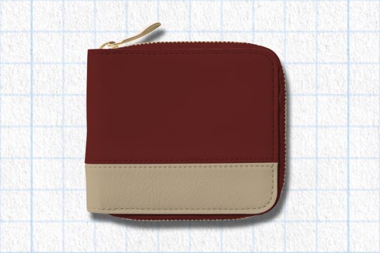 ダークレッド、ナチュラルベージュ、フラミンゴピンクを使用したラウンド2つ折り財布(バイカラー)