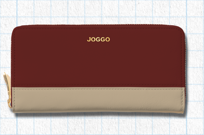 ダークレッド、ナチュラルベージュ、フラミンゴピンクを使用したシンプルラウンド長財布(バイカラー)