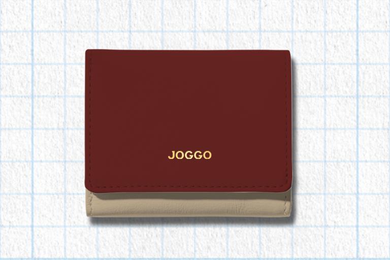 ダークレッド、ナチュラルベージュ、フラミンゴピンクを使用した3つ折りミニ財布