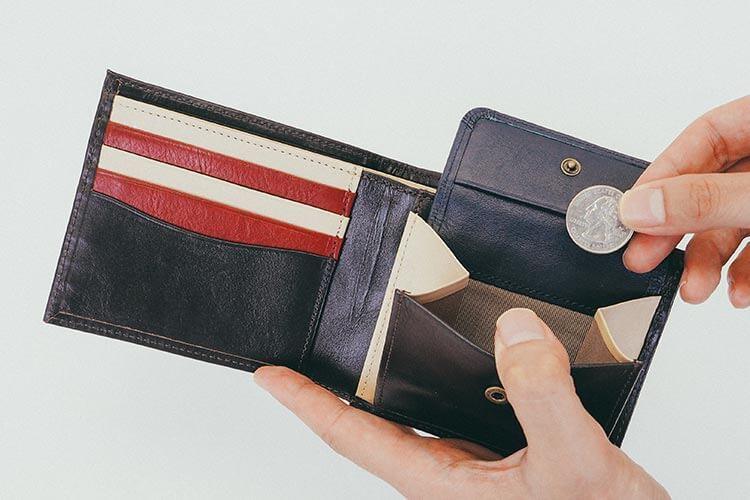 2つ折り財布(小銭入れ付き) 小銭入れの写真