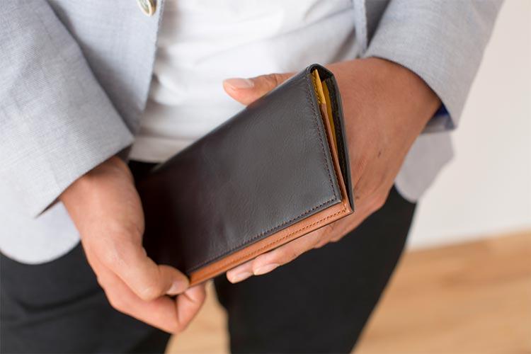 フラップバイカラー長財布(シングルホック)